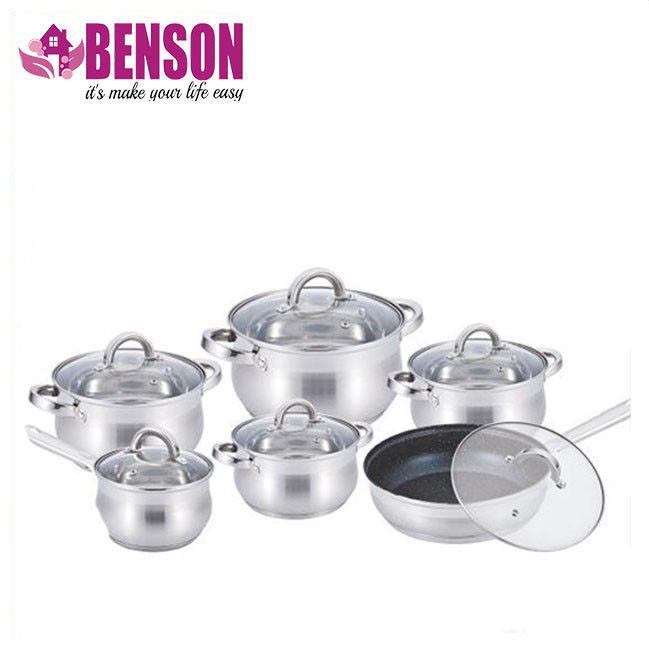 Набор кастрюль из нержавеющей стали 12 предметов Benson BN-212 2,1 л, 2,1 л, 2,9 л, 3,9 л, 6,5 л
