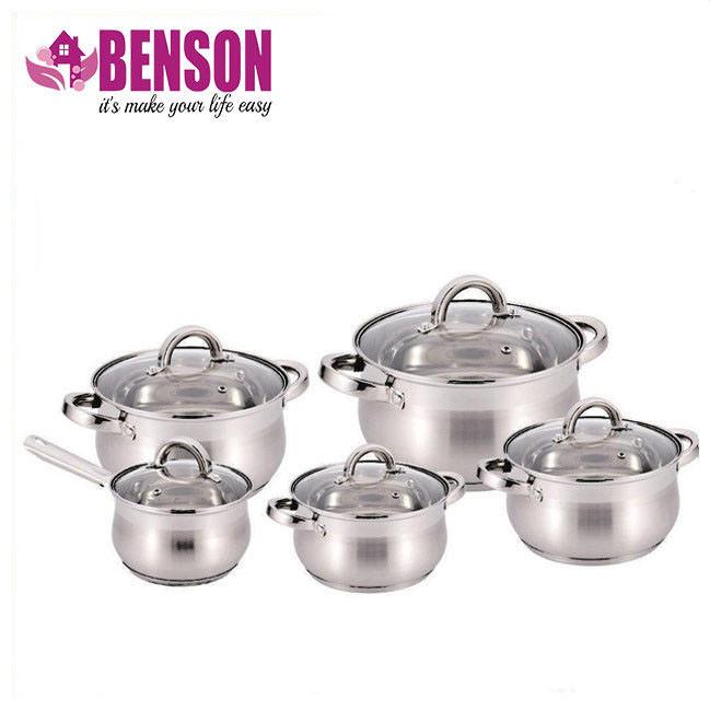 Набор кастрюль из нержавеющей стали 10 предметов Benson BN-211 2,1 л, 2,1 л, 2,9 л, 3,9 л, 6,5 л