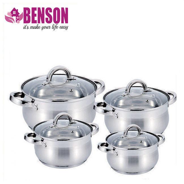 Набор кастрюль из нержавеющей стали 8 предметов Benson BN-210 2,1 л, 2,9 л, 3,9 л, 6,5 л