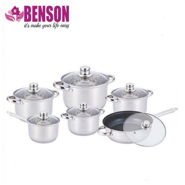 Набор кастрюль из нержавеющей стали 12 предметов Benson BN-208 2,1 л, 2,1 л, 2,9 л, 3,9 л, 6,5 л