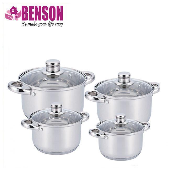 Набор кастрюль из нержавеющей стали 8 предметов Benson BN-206 2,1 л, 2,9 л, 3,9 л, 6,5 л