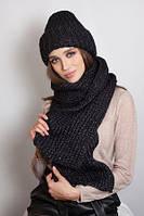 Комплект теплый шапка и шарф крупной вязки в 9ти цветах 4631-10