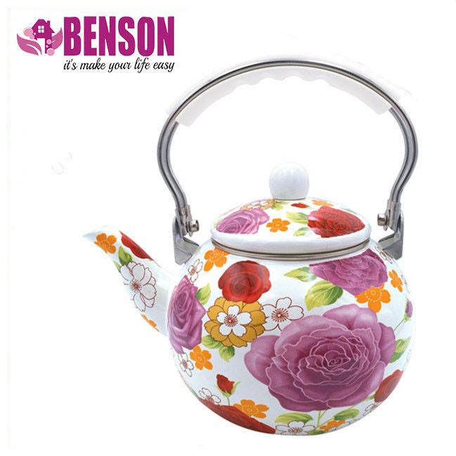 Эмалированный чайник с подвижной нейлоновой ручкой Benson BN-110 2.5 л | Белый с рисунком