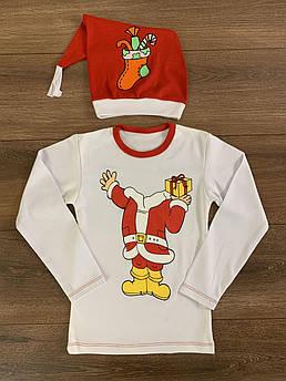 Детский джемпер с шапочкой Санта Размер 86 - 116 см