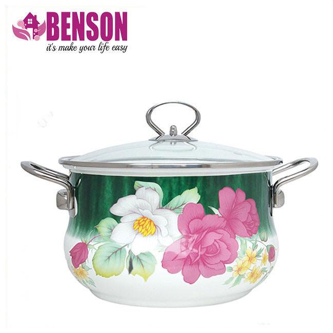 Эмалированная кастрюля с крышкой Benson BN-114 4.8 л   Белая с цветочным декором