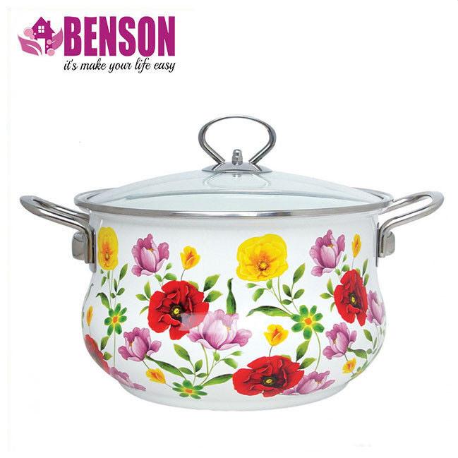 Эмалированная кастрюля с крышкой Benson BN-117 2.7 л | Белая с цветочным декором