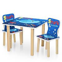 Детский столик со стульчиками 506-74, столешница 60-60см/высота 49см, 2 стульчика, Shark