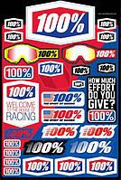 "Лист наклеек Ride 100% DECAL SHEET 12"" x 18"""