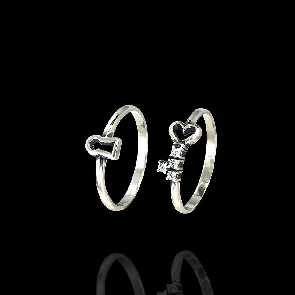Серебряное кольцо 2 в 1 Ключик с замочком