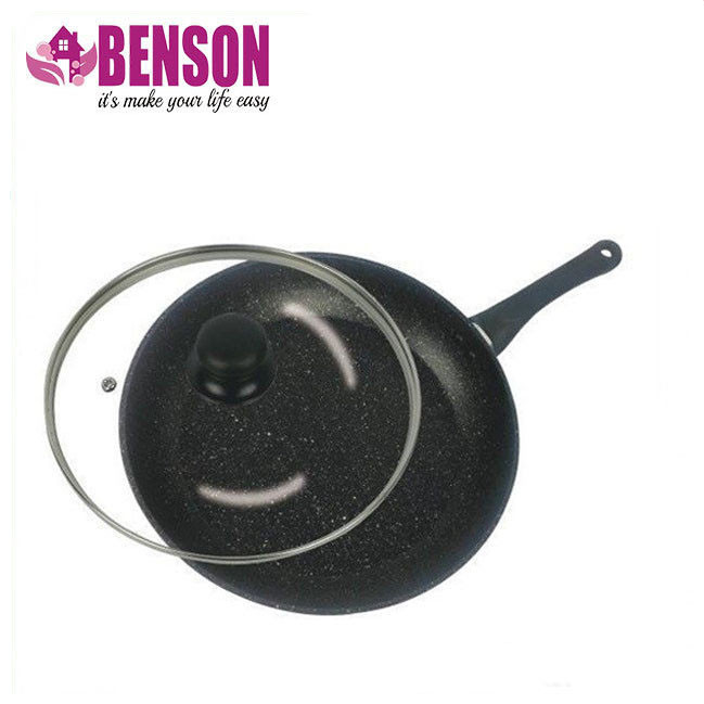 Сковорода с антипригарным мраморным покрытием с крышкой Benson BN-503 26*5 см