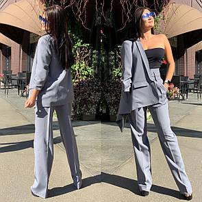 Женский брючный костюм с брюками клеш с завышенной талией и пиджаком 58ks137
