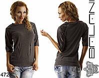 Женский свитшот с кожаными рукавами, фото 1