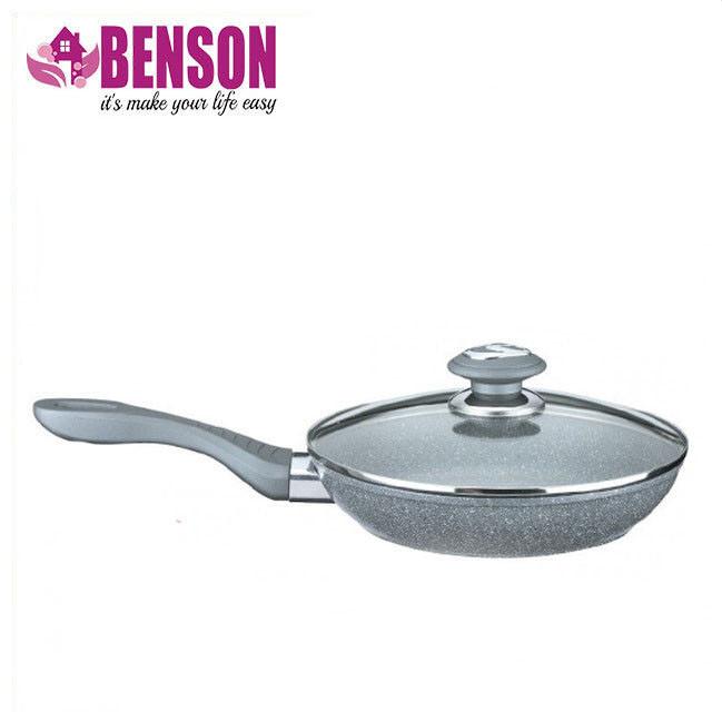 Сковорода с гранитным покрытием Benson BN-517 28*6 см | Крышка | Индукция | Бакелитовая ручка