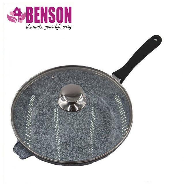 Сковорода литая WOK с антипригарным гранитным покрытием Benson BN-521 28*7 см