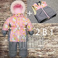 Зимний р 80 9-12 месяцев термокомбинезон детский раздельный куртка со штанами на овчине для девочки зима 5026