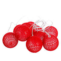 "Тайские фонарики 10 шт. ""Красная"" (1,6 м) LED гирлянда из шаров на батарейках"