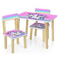 Детский столик со стульчиками 501-65, Единорожка, ш30-г30-в51см, высота до сидения 23см
