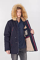 Зимняя детская куртка - парка на мальчика, очень теплая, на меху с капюшоном 6, 7, 8, 9,10, 11 лет. синяя