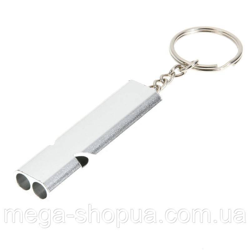 Громкий свисток Sport. Брелок-свисток для ключей. Спасательный свисток. Свисток алюминиевый (Серебристый)