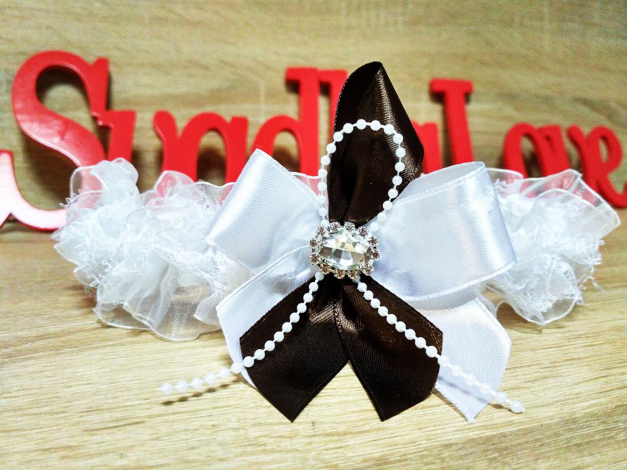 Свадебная подвязка Stile. Цвет шоколад.