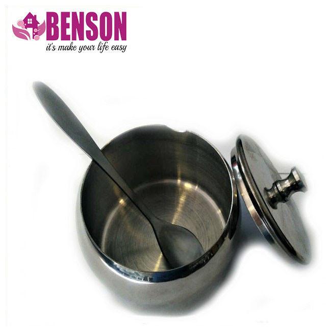 Сахарница с ложкой и крышкой из нержавеющей стали Benson BN-627 8 см