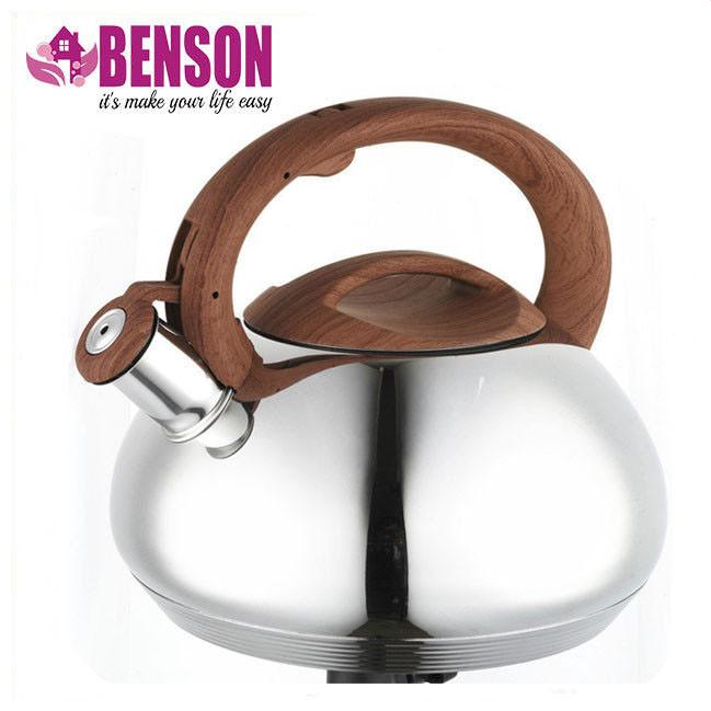 Чайник со свистком из нержавеющей стали Benson BN-702 3 л | Нейлоновая ручка | Индукция