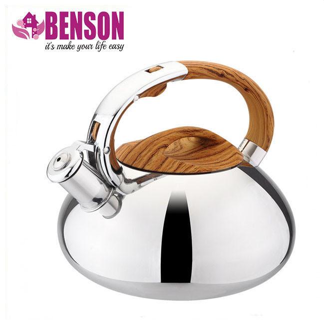 Чайник со свистком из нержавеющей стали Benson BN-703 3 л | Нейлоновая ручка | Индукция