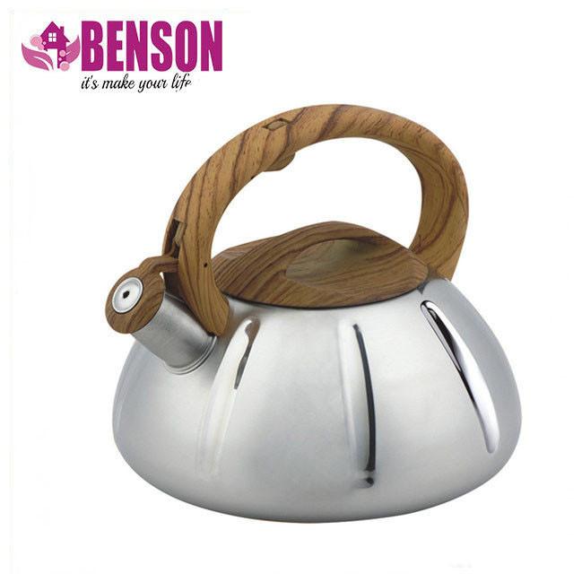 Чайник со свистком из нержавеющей стали Benson BN-704 3 л | Нейлоновая ручка | Индукция