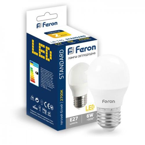 Лампа LED шар 6W E27 теплий колір LB-745 Feron