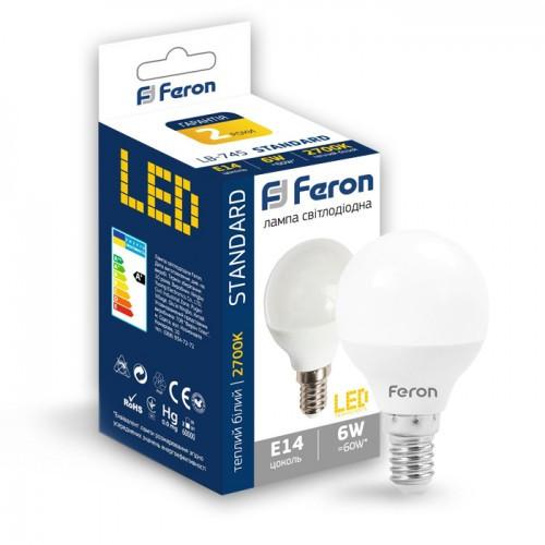 Лампа LED шар 6W E14 теплий колір LB-745 Feron