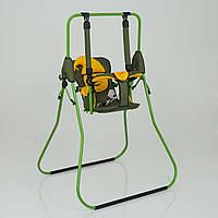 Качеля напольная Алинка зеленый каркас, хаки материя, желтый гномик - 180117