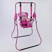 Качеля напольная Алинка (1) розовый каркас, розовая материя, белый гномик - 180119