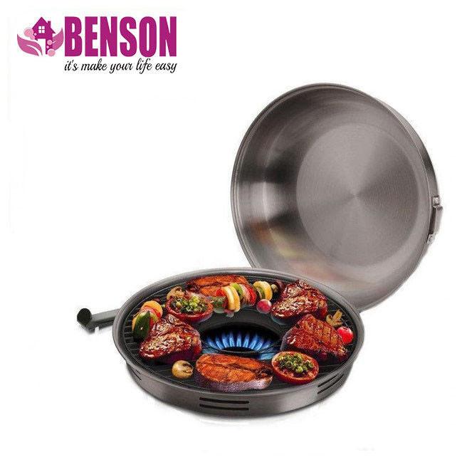 Сковорода гриль-газ Benson BN-801 с эмалированным покрытием | Сковородка для гриля