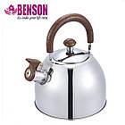 Чайник со свистком из нержавеющей стали Benson BN-712 3 л | Нейлоновая ручка | Индукция, фото 2