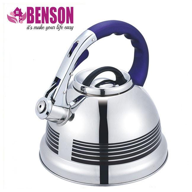 Чайник со свистком из нержавеющей стали Benson BN-711 3 л | Нейлоновая ручка | Индукция