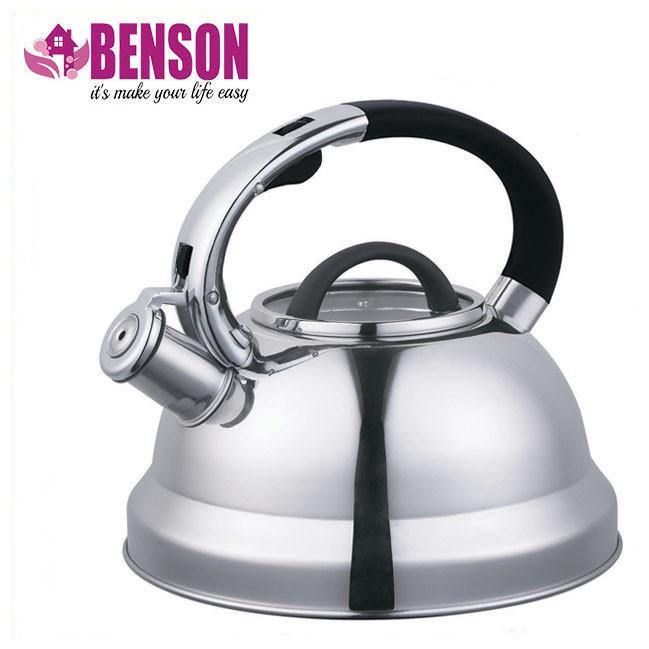Чайник со свистком из нержавеющей стали Benson BN-708 3 л | Нейлоновая ручка | Индукция