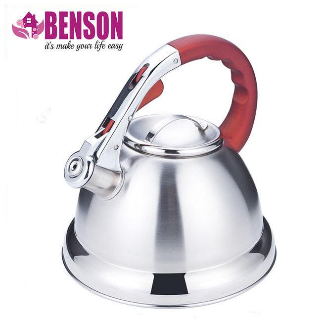 Чайник со свистком из нержавеющей стали Benson BN-710 3 л | Нейлоновая ручка | Индукция