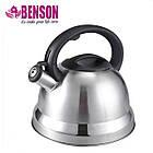 Чайник со свистком из нержавеющей стали Benson BN-709 3 л | Нейлоновая ручка | Индукция, фото 2