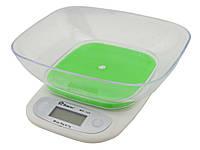 Электронные кухонные весы с чашей на 7 кг Domotec MS-125 Green