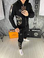 🔰 Мужской черный зимний спортивный костюм Philipp Plein (реплика)