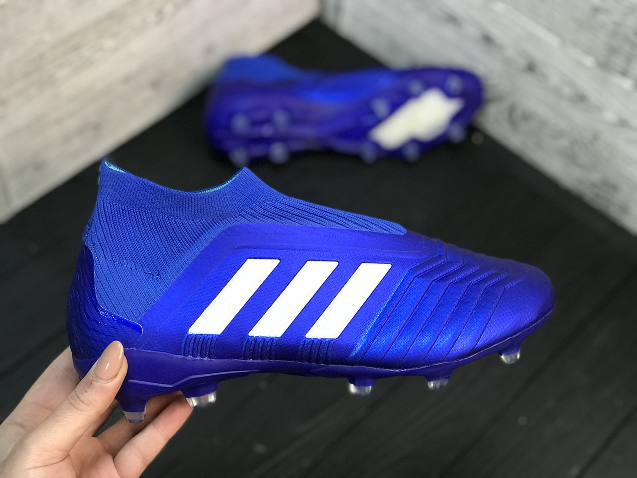 Бутсы Adidas Predator 18+FG/адидас предатор без шнурков
