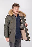 Зимняя детская куртка - парка на мальчика, очень теплая, на меху с капюшоном 6, 7, 8, 9,10, 11 лет. хаки