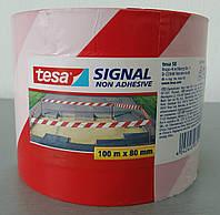 Лента сигнальная для ограждений не клейкая tesa  100м 80мм