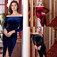 Платье женское нарядное бархат Цвета: чёрный, бордо, темно-синий 42-44 44-46, фото 1