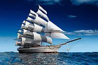 Глянцевые Фотообои корабль в море  разные текстуры , индивидуальный размер
