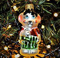 """Игрушка новогодняя стеклянная """"Мышь малыш"""". Размер 7 см. Цвет зеленый., фото 1"""