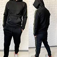 Спортивный костюм мужской флисовый чёрный, хаки