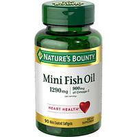 Nature's Bounty Omega 3 Mini Fish oil 1290 mg 90 softgel, фото 1