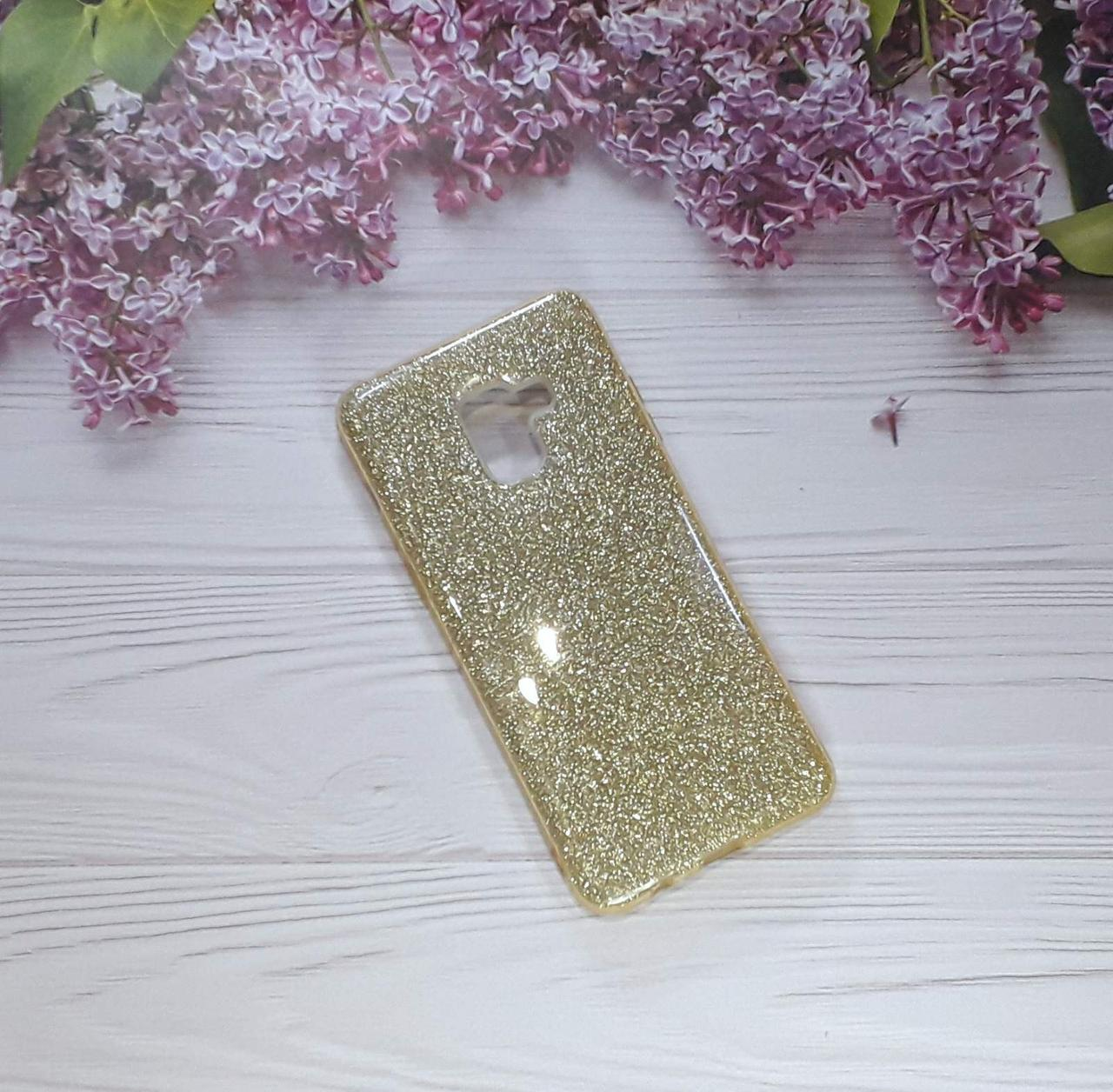 Чехол накладка Glitter на Samsung A8 Plus (2018) Gold