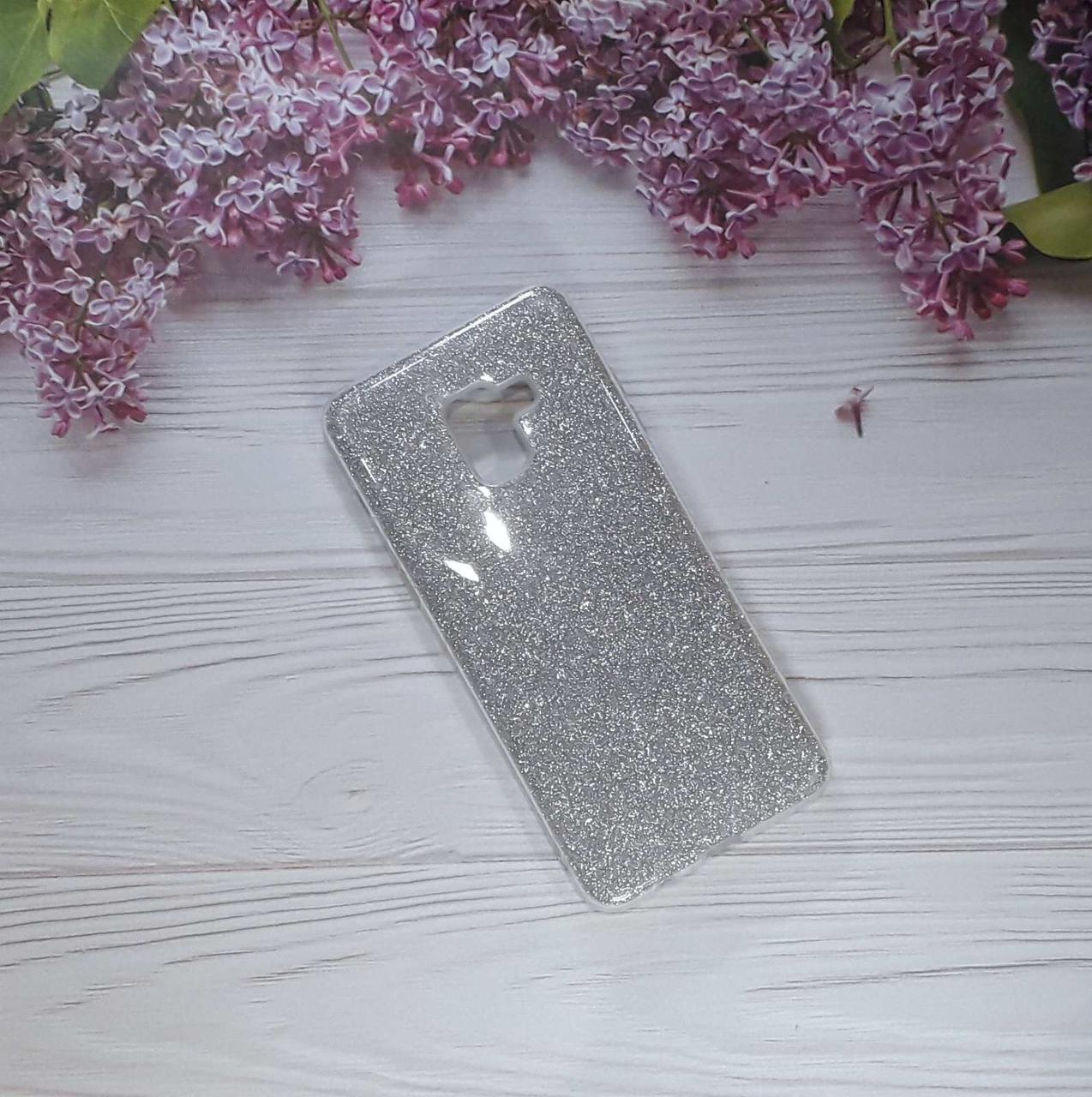 Чохол накладка Glitter на Samsung A8 Plus (2018) Silver